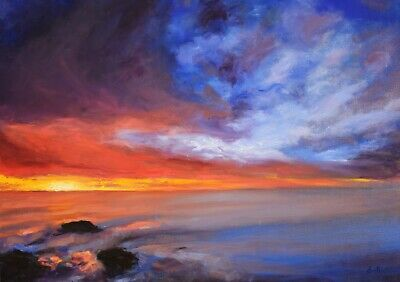 Original sunset seascape landscape oil painting-Direct from artist Jackie Smith.