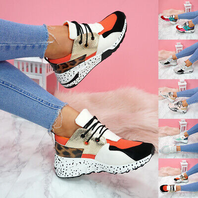 Womens Ladies Lace Up Animal Print Chunky Sneakers Party Trainers Shoes Size