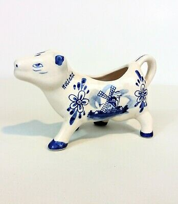 Vintage DELFT BLUE Holland COW CREAMER WINDMILL & FLOWERS