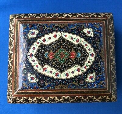 Vintage Persian Inlaid Intricate Design Small Wooden Wood Trinket Jewellery Box