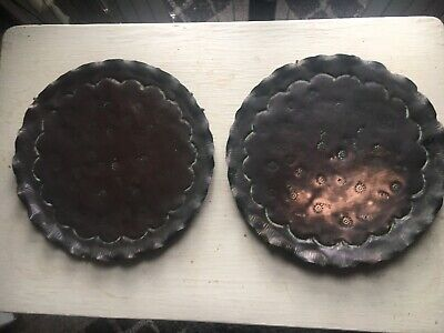 Pair Eight Inch Pie Crust Edge Copper Or Brass  Wall Plaques Arts And Craft Like