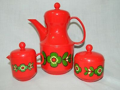 Vintage MCM Emsa Red plastic Floral Tea pot Set Germany Sugar Cream Retro