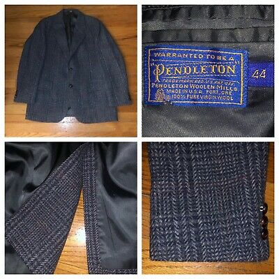 Vtg Pendleton 100% Virgin Wool Tweed Glen Plaid Sport Coat Blazer Size 44 USA