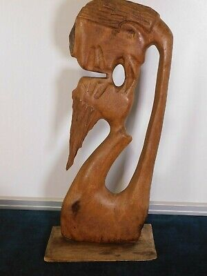 Vintage Carved Wood Kissing Couple 16.5 inch