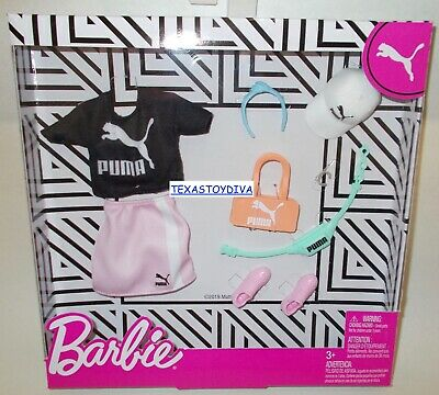 Barbie *PUMA DELUXE FASHION PACK* T-Shirt Pink Skirt Hat Shoes Doll Clothes 2020