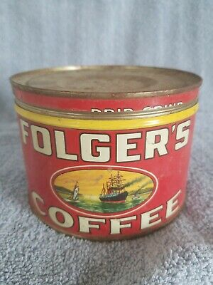 Vintage,Folger's Coffee 1 Lb,Can,Drip Or Silex On Lid;Ship Graphic's