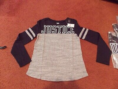 justice - girls size 20--black/gray Logo Long Sleeve Football Tee--nwt