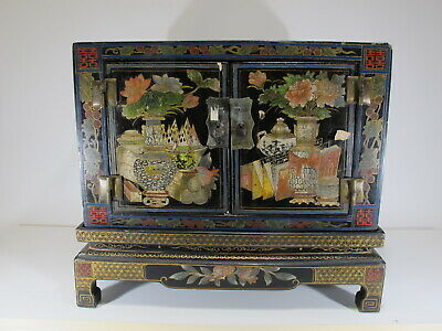 Antique Chinese painted lacquer small cabinet # D11036