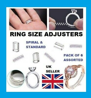 Assorted Ring Size Reducers Ring Snuggies Snugs Clip Guard Resizer Adjusters (6)