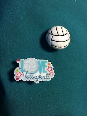 Cute VOLLEYBALL Set of 2 LOVE Volleyball Sport Croc Hole Accessories Shoe Charms