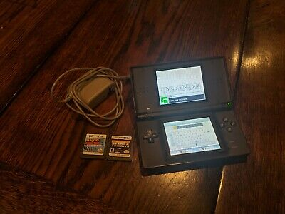 Nintendo DS Lite Handheld Console - Onyx Black- w/ two games and charger!! Mario