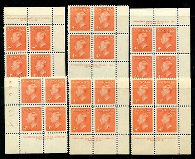 Weeda Canada 306 VF MNH lot of 6 different plate blocks CV $15.75