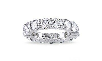 Womens 4mm Cubic Zirconia Eternity Band Ring 18K White Gold Plated Round Cut