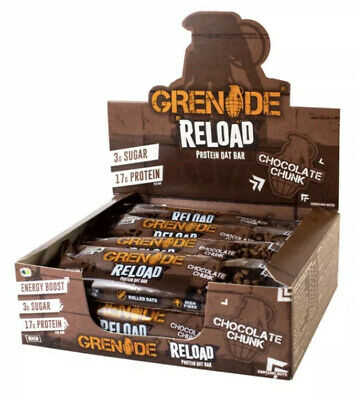 Grenade Reload Protein Oat Bar X12 NEW! Chocolate Chunk