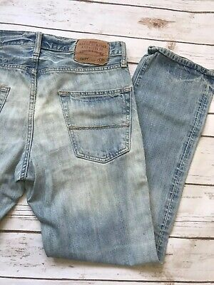MENS ABERCROMBIE & FITCH REMSEN LOW RISE SLIM STRAIGHT LEG JEANS 30x30 A&F As Is