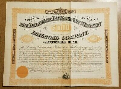 1872 Delaware Lackawanna & Western Railroad Bond Stock Certificate