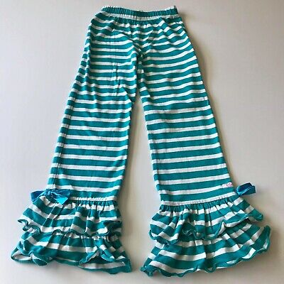 Ruffle Butts Girls Blue White Stripe Ruffle Leggings Size 7