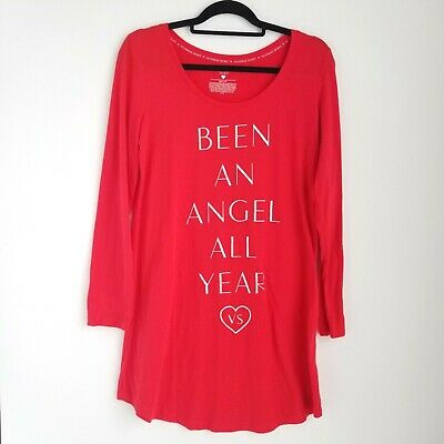 Victorias Secret Pajama Dress Womens M Been An Angel All Year Red Long Sleeve