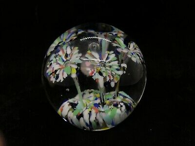 Hand Blown Art Glass Paperweight Confetti Controlled Bubble Trumpet Flowers