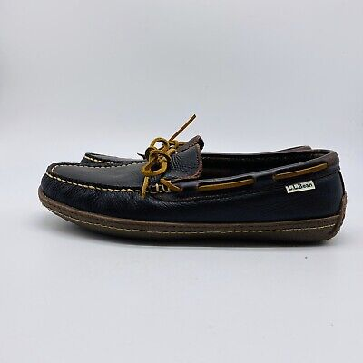 LL Bean Men's Brown Leather Flannel Lined Hand Sewn Slippers Shoes Size 9