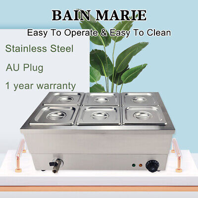 Bain Marie Electric Hot Food Warmer Commercial Stainless Steel Catering 1/6GN x6