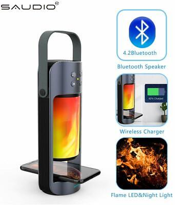 Portable Bluetooth Speaker With Wireless Charger And Flame LED Night Light