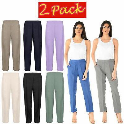 2 Pack Ladies Half Elasticated Trousers Womens Stretch Waist Work Office Pants