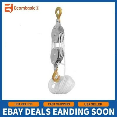 2 2 Ton Poly Rope Hoist Pulley Wheel Block and Tackle Puller Lift Tools Lifter