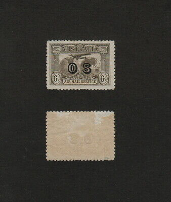 s2051)       AUSTRALIA 1931 AIR MAIL SERVICE STAMP 6d BROWN With  OS OVERPRINT