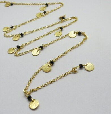 Rosary Chain 22K Gold Charms Natural Gemstone Spinel Beaded Necklace 3 Ft.