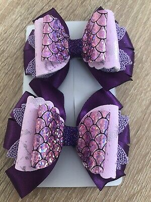 Sparkling Glitter Girl Handmade Hair Bow Clip-Set Of 2