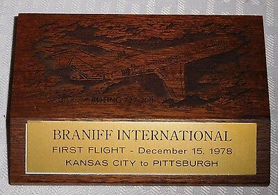 Braniff International First Flight Kansas City to Pittsburgh Wood Paperweight