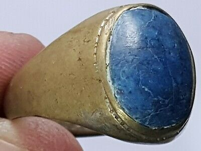 Fantastic Ancient Roman Bronze Ring With Blue Lapis Lazulli Stone 7,2 Gr 21 Mm
