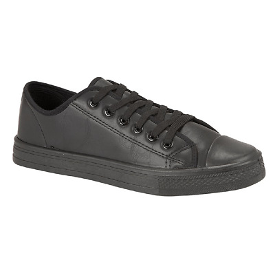 Womens Ladies Mens Boys Girls Lace Up Plimsoll Black School Trainers Shoes Size