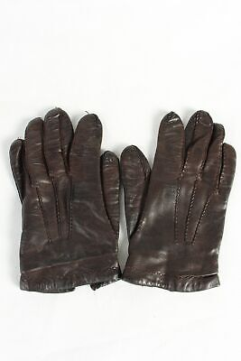 Vintage Womens Leather Gloves Lined  Wool Lining Smart Retro 90s  Black - G96