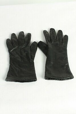 Vintage Womens Leather Gloves Lined  Retro 1970s Ladies  Size 6.5 Black - G83