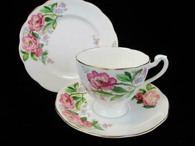 Roslyn China GOLD Pink & Blue FLORAL Trio Tea Cup Saucer &Tea Plate