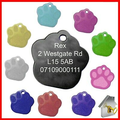 Personalised Engraved Dog Tag Glitter Paw Print Pet Cat ID Tags Engraving Inc.