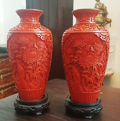 Antique China Chinese Blue Enamel And Cinnabar Par Vases Wooden Bases