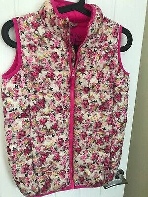 Girls Joules Girls Packaway Gilet Ditsy Pink Floral Size Age 11-12 Years Jacket