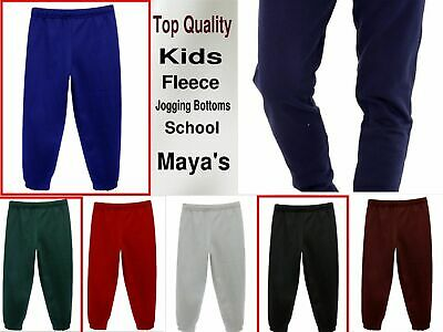 Jogging Bottoms School Girls Boys Kids PE Fleece Tracksuit Trousers 3-14YEARS