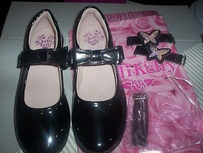 LELLI KELLY ANGEL DOLLY *NEW* Black Patent Leather School Shoes size 2-F width