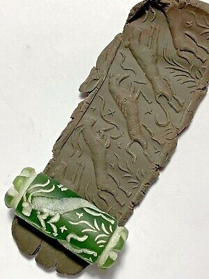 INTACT RARE NEAR EASTERN GREEN CYLINDER SEAL - ANIMALS PENDANT 15.3gr 38.0mm