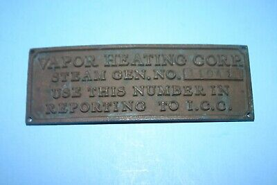 Antique Vtg Brass Bronze Vapor Heating Corp. Steam Generator Advert. Plaque Sign