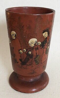 Antique Chinese Asian Red Wooden Footed Tea Sake Cup Lacquer Figural