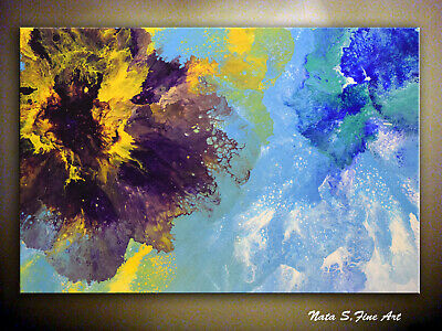 Large Abstract Painting Purple Flower Art Original Acrylic Pour Painting by Nata