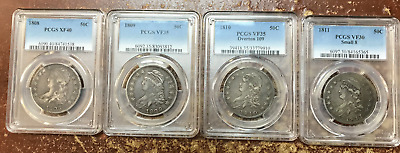 1808-1839 Run of 30 Bust Half Dollars Missing Only The 1815. Most Average Circ.