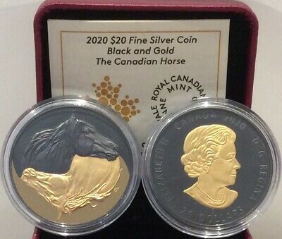 2020 Black Gold Canadian Horse $20 1OZ Pure Silver Proof Coin Canada