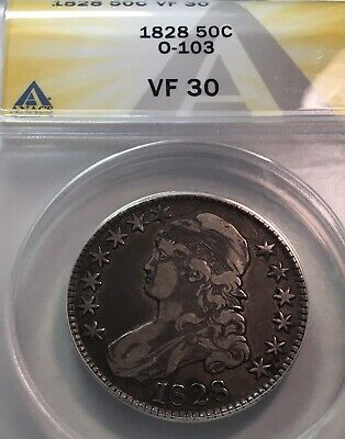 1828 Bust 50C O-103 Anacs Vf30 R.2 Curl 2 And Large 8S In Date Nice No Problems