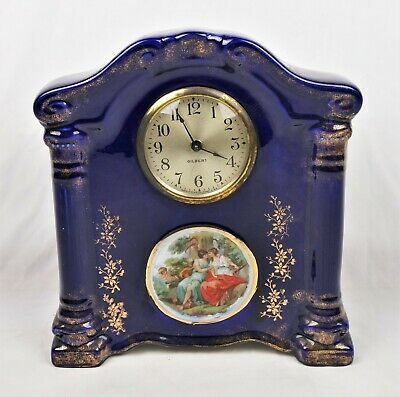 Antique Gilbert Cobalt Blue Porcelain Mantel Shelf Clock For Restoration Parts